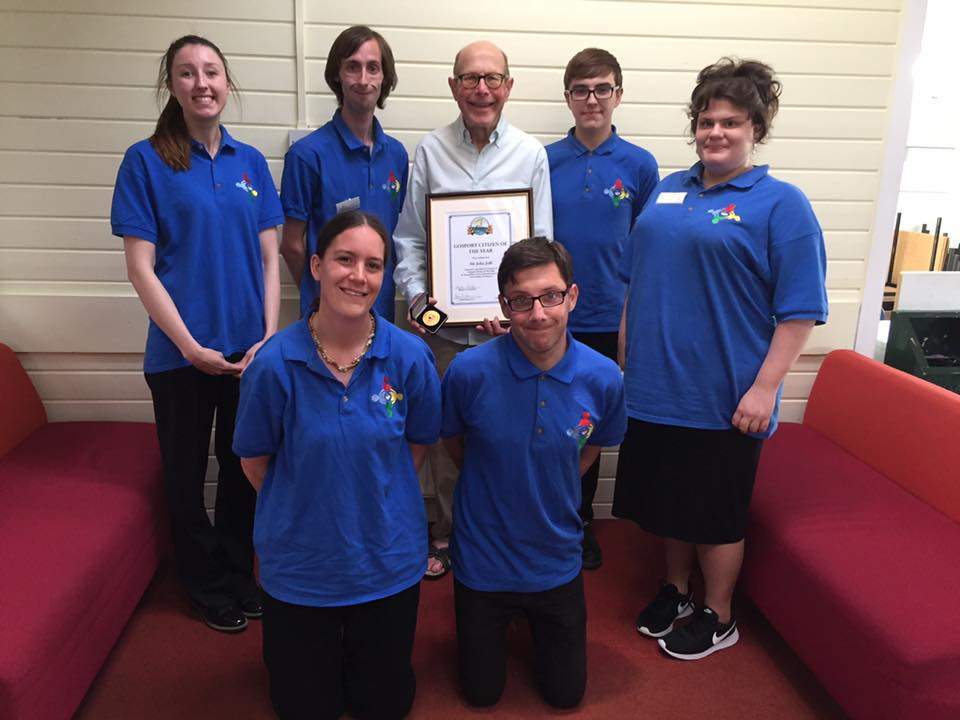 John Jeffs, Secretary for Loud & Proud Group receives Gosport Citizen of the Year 2017 Award