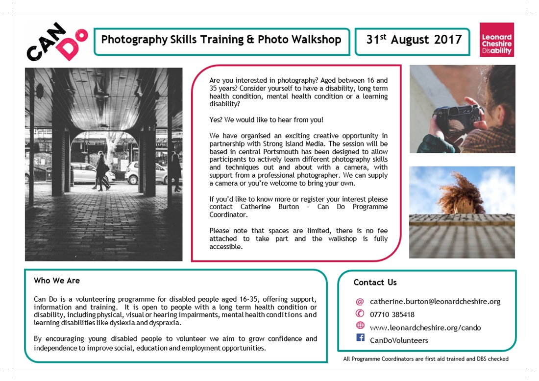 Can Do Photo Skills & Walkshop - 31st Aug 17 (poster image)