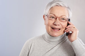 Older person talking on the telephone