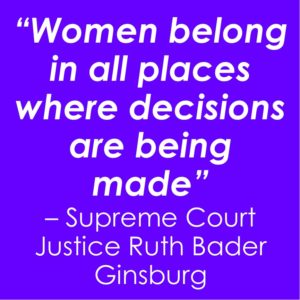 """text on colour background: """"Women belong in all places where decisions are being made"""" – Supreme Court Justice Ruth Bader Ginsburg"""