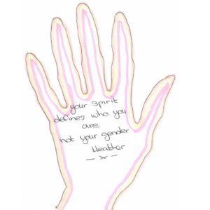 """hand shape with """"your spirit defines who you are, not your gender"""" written inside"""