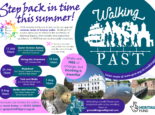 """Poster with the GVA, Walking Past and Heritage Fund logos, and the text: """"Step back in time this summer! GVA warmly invite you to join us for our special summer series of Sunday walks. Walking Past routes allow you to follow in the footsteps of historical figures, from royalty and respected architects, to WWII heroes and notable musicians. 11 July 10am Queen Victoria's Railway incl. Jackie Spencer Bridge and The Crescent 18 July 10am Diving into Alverstoke incl. Stanley Park 25 July 10am Waterfront incl. Royal Clarence Marina and the High Street 1 Aug 10am Forts and Walks incl. Fort Brockhurst and Monks Walk (uneven ground, unsuitable for mobility aids like wheelchairs or pushchairs) 8 Aug 10am Mottes and Trenches incl. Alver Valley and Browndown North (uneven ground, unsuitable for mobility aids like wheelchairs or pushchairs) Walks are free of charge, but booking is essential. Numbers are limited for safety, so book today on 02392 583836 or gosportw4h@gva.org.uk. Attending a walk? Share your snapshots with us by emailing them to gvawalkingpast@gmail.com."""" Photos of swans and cygnets swimming past Jackie Spencer Bridge, the Alverbank Hotel from Crescent Gardens, a boardwalk in the Alver Valley Country Park, and Fork Brockhurst."""