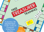 """Graphic of board game resembling Monopoly with the text """"Free treasurer training, Tuesday 28 September, 10:00-15:00 at Gosport Voluntary Action, Lunch provided, Book now!"""" and the logos for GVA and Louisa Burton Chartered Accountant"""